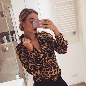 Fashion Womens Leopard Print Long Sleeve Tops and Blouses Loose OL Shirts V-Neck Party blusas femininas elegante chemise femme