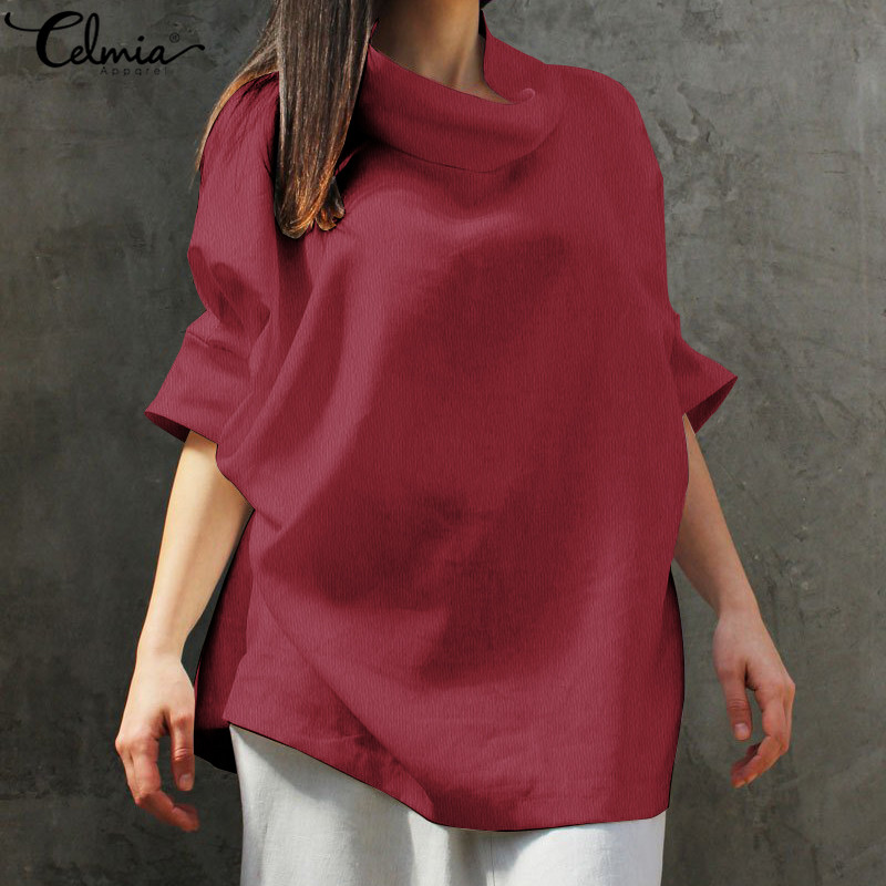 Celmia Plus Size Women Linen Tops and Blouses 2019 Summer Cowl Neck Batwing Sleeve Loose Casual Tunic Shirts Solid Blusas Femme