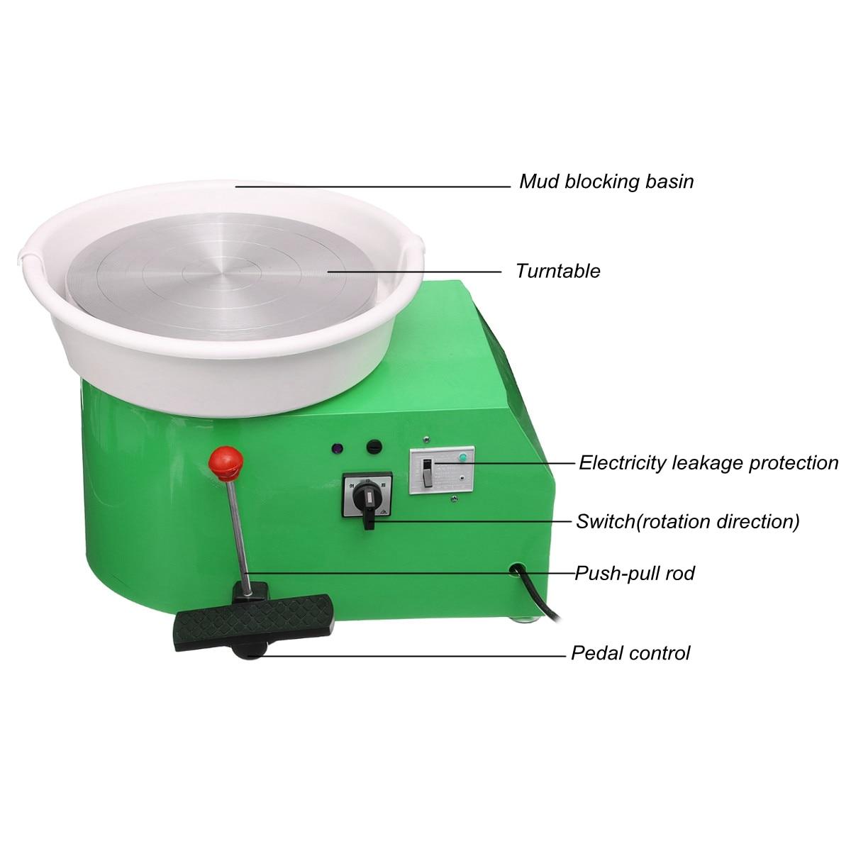 Machine de roue de poterie 32 cm 220 V 350 W à manivelle et commande à pédale en céramique travail argile Art avec Mobile lisse à faible bruit - 4