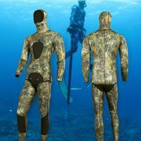 3,5 мм Professional Рыбалка дайвинг костюм Бесплатная Открытый Одежда заплыва и болотных камуфляж с капюшоном Теплый разделение стиль