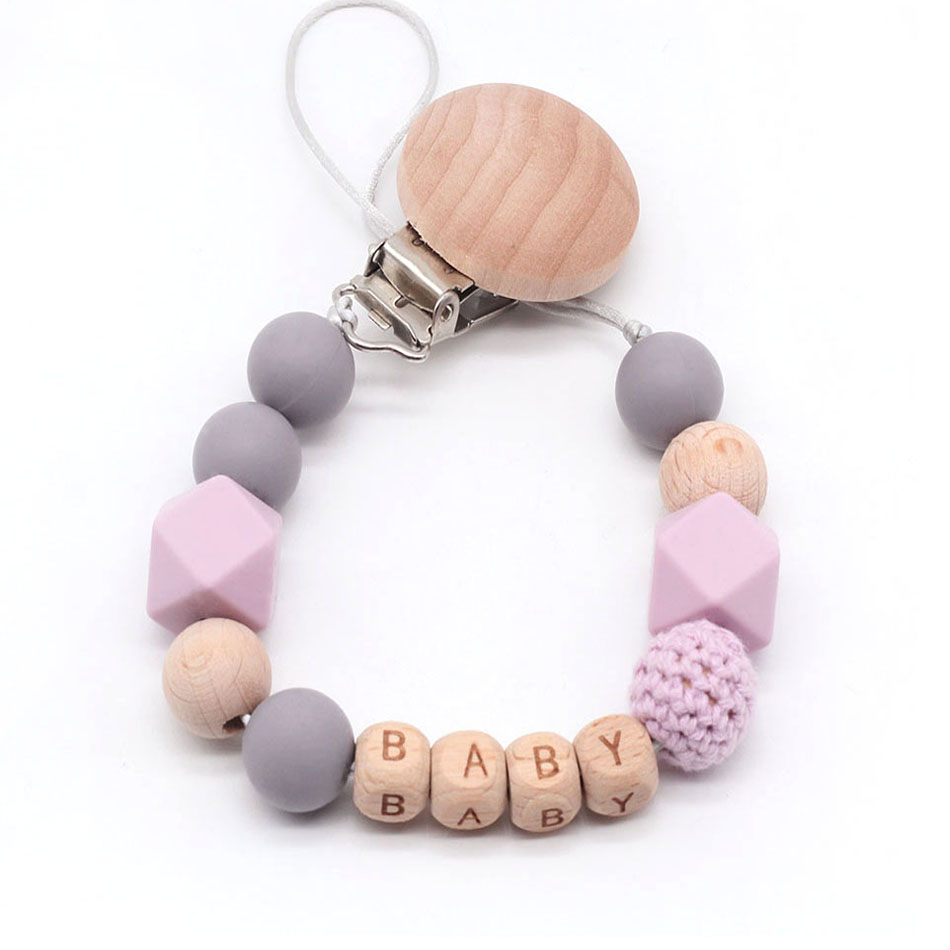 Personalized Name Silicone Bead Teething Pacifier Clip Wood Beads Nursing Clip Paci Clip Toy Binky Binkie Clip Baby Shower Gift