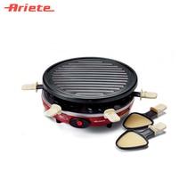 Гриль-раклетница Ariete 795 PARTY TIME, цвет красный, мощность 800 Ватт, 6 раклет-лопаток, открытый гриль с антипригарным покрытием