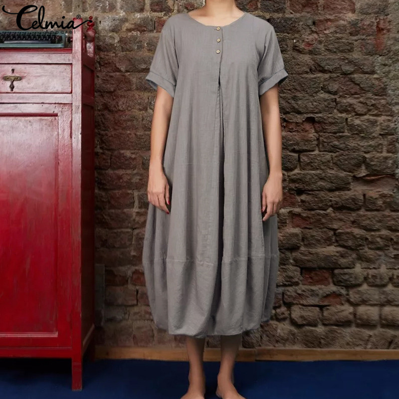 Celmia Women Vintage Linen Dress 2019 Summer Button Down Casual Pleated Long Shirt Vestidos Mujer Baggy Dress Plus Size Sundress