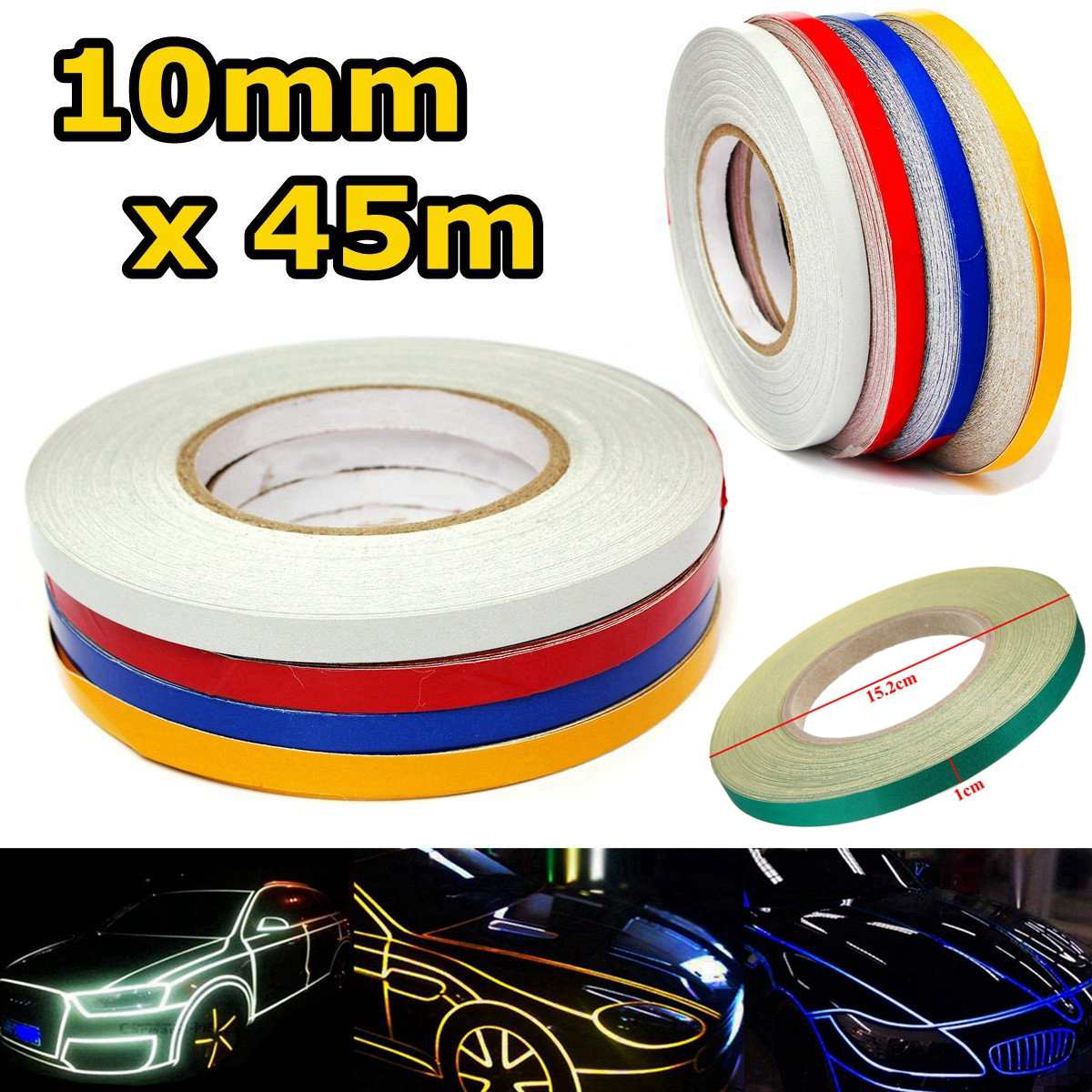 Red White Yellow Blue 10mm 150 feet Car Reflective Body Rim Stripe Sticker DIY Tape Self-Adhesive Car Sticker Car-styling