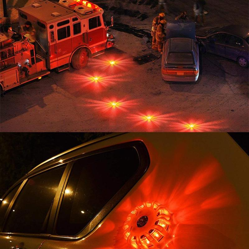 15LED Car Police Emergency Strobe Light Flashing Warning Light Roof Road Safety Lamp Orange Round Car Roof Light Bar Road Safety