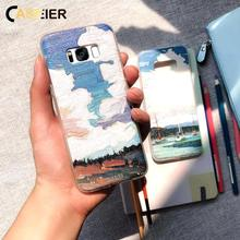 CASEIER Texture Case For Samsung Galaxy S7 S8 S9 S10 Oil Painting Embossed Phone  Funda Capinhas