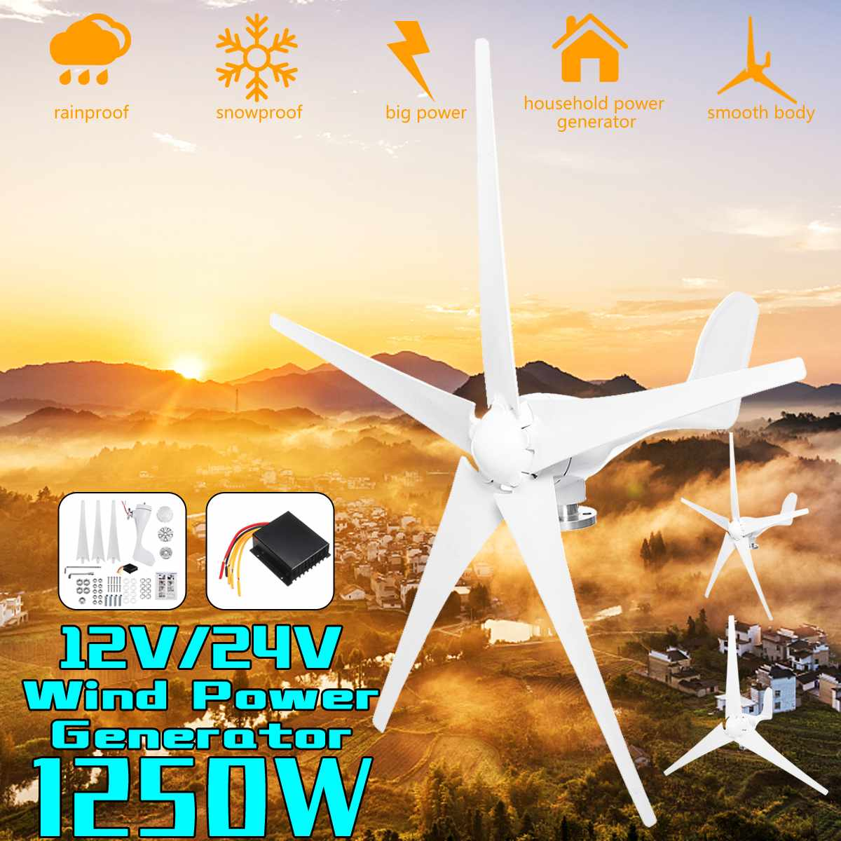 1250W Wind Power Turbines Generator 12V 24V 3/5 Wind Blades Option With Waterproof Charge Controller Fit for Home Or Camping1250W Wind Power Turbines Generator 12V 24V 3/5 Wind Blades Option With Waterproof Charge Controller Fit for Home Or Camping
