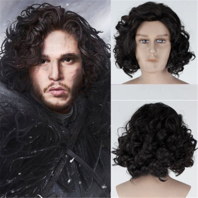 Jon Snow Costume Game Of Thrones Cosplay Adult Accessories Wig Short Hair Curly Halloween Christmas Carnival Superhero Party