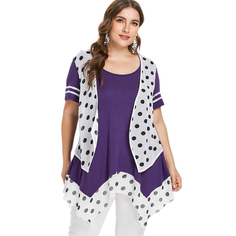 Wipalo плюс размер Платок Подол маховая футболка совок шеи горошек Туника-безрукавка 2018 летние женские повседневные топы, большой размер 5XL