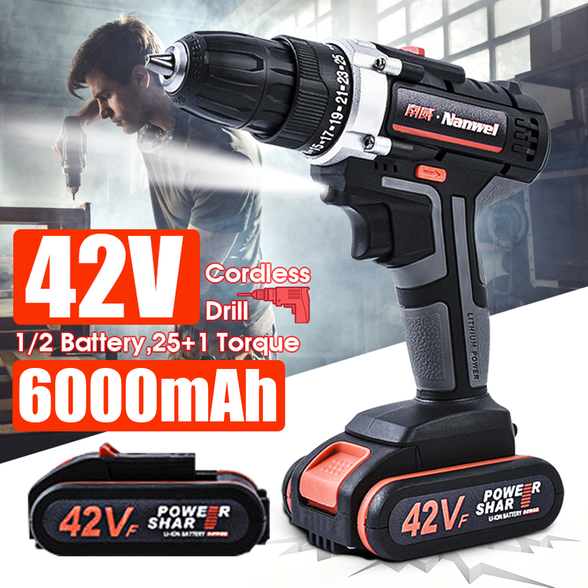 42V 6000mAh Rechargeable Lithium Battery Double Speed Cordless Drill Electric Drill Wrench Powerful Driver Household Car Tools42V 6000mAh Rechargeable Lithium Battery Double Speed Cordless Drill Electric Drill Wrench Powerful Driver Household Car Tools