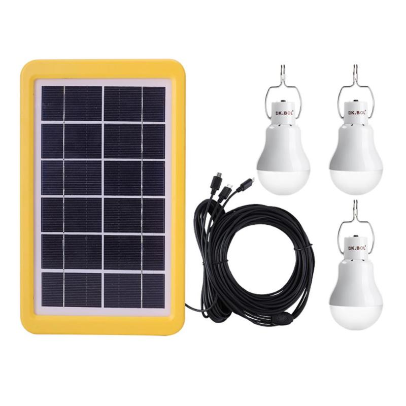 1 For 3 Solar Charging Light Lamp Outdoor Camping Portable Garden Bulb Set With 5m Cable 3pcs 3.5m Branching Cable