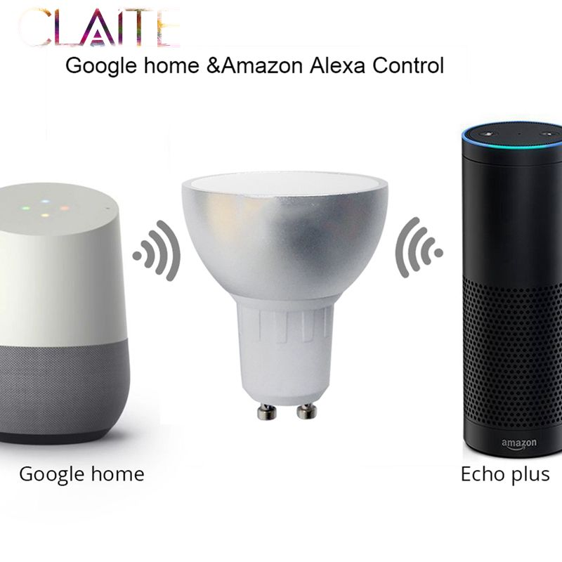 CLAITE GU10 5W WiFi Smart APP RGBW LED Downlight Bulb Remote Control Work with AlexE ech0 Google Home Assistance AC85-265V zigbee bridge led rgbw 5w gu10 spotlight color changing zigbee zll led bulb ac100 240v led app controller dimmable smart led