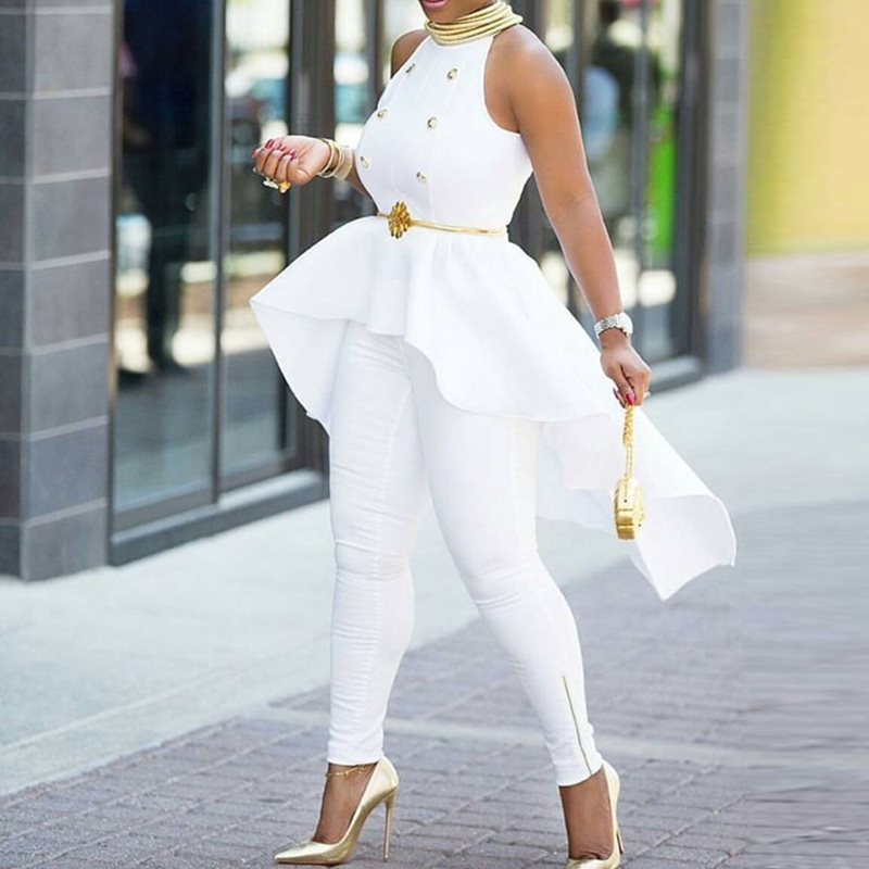 Elegant Fake 2 Piece Women White Long   Jumpsuits   Sexy Summer Office Sleeveless Ruffle Party Big Plus Size Ladies   Jumpsuit   Rompers