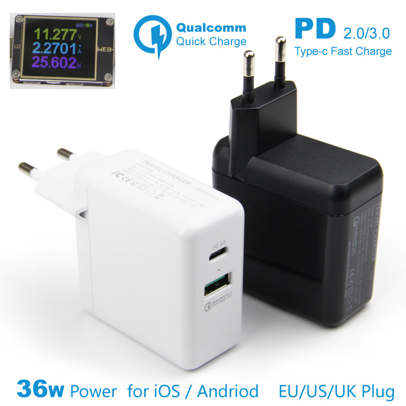 PD 3.0 Fast Charge Charger 36w Usb C Quick Charger EU UK Plug 2 Usb QC 3.0 Mobile Travel Adaptor for iPhone Apple Type-c Android