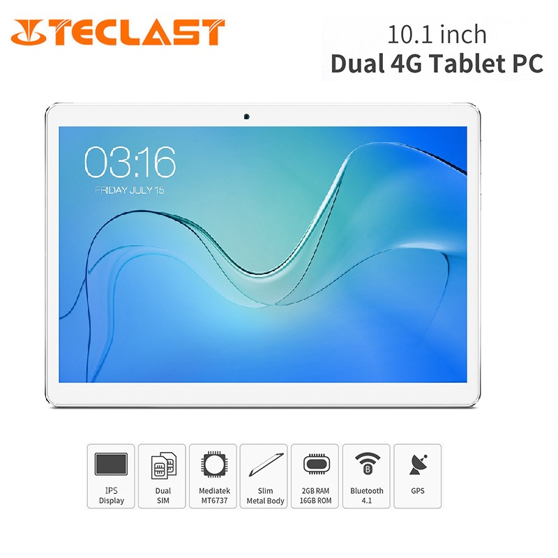 Teclast P10 4G Tablet PC 10.1 pouces IPS 1280*800 Android 8.1 MTK 6737 Quad Core 2 GB RAM 16 GB Double Bande 4850 mAh Téléphone Phablet GPS