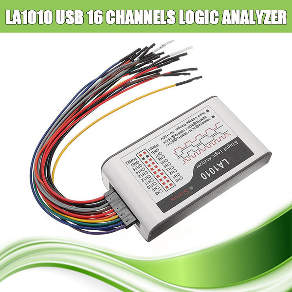 LA1010 USB Logic Analyzer Oscilloscopes Debug Tools 100M Max Sample Rate 16 Channel 10B Samples MCU/ARM/FPGA Debug Tool