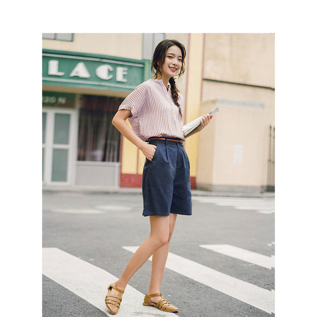 INMAN 2019 Summer New Arrival Solid Linen Cotton Medium Waist Minimalism All Matched Literary Casual Women Short Pants 1