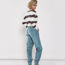 Women Fashion Solid Color Corduroy Drawstring Elastic Waist Jogger Pants Ladies Casual Slim Feet Trousers