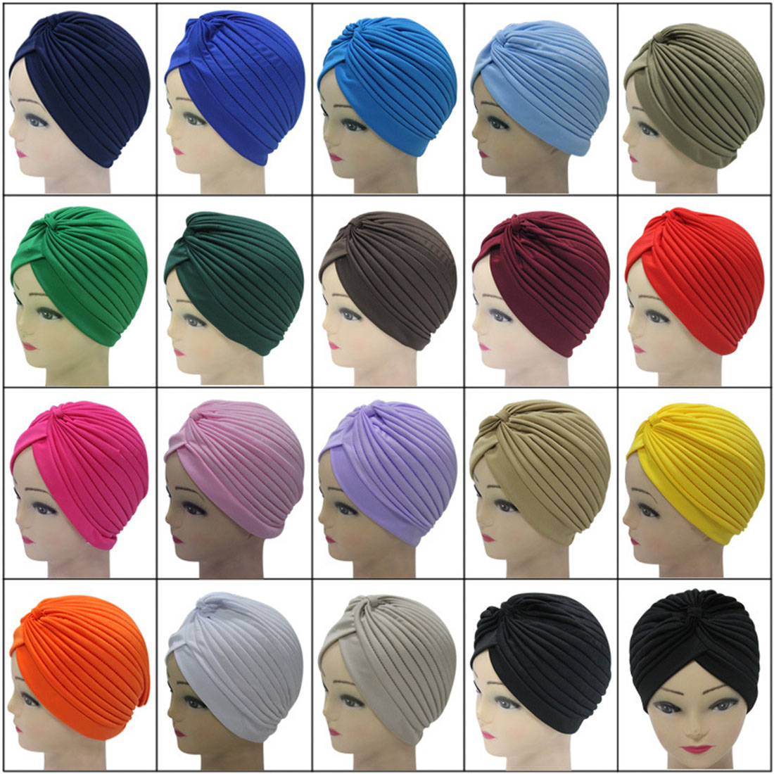 Women Men Stretchy Turban Head Wrap Band Chemo Bandana Pleated Indian Cap   Skullies     Beanies   Prayer New Hats Ethnic 23 Color