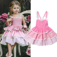 6M-5Y Princess Toddler Infant Kid Baby Girls Dress Sleeveless Lace Layered Party Wedding Bridesmaid Sundress Baby Clothes Outfit toddler baby girls summer princess fashion dress sleeveless sequined lace patchwork pink knee length tutu dress sundress 6m 5y