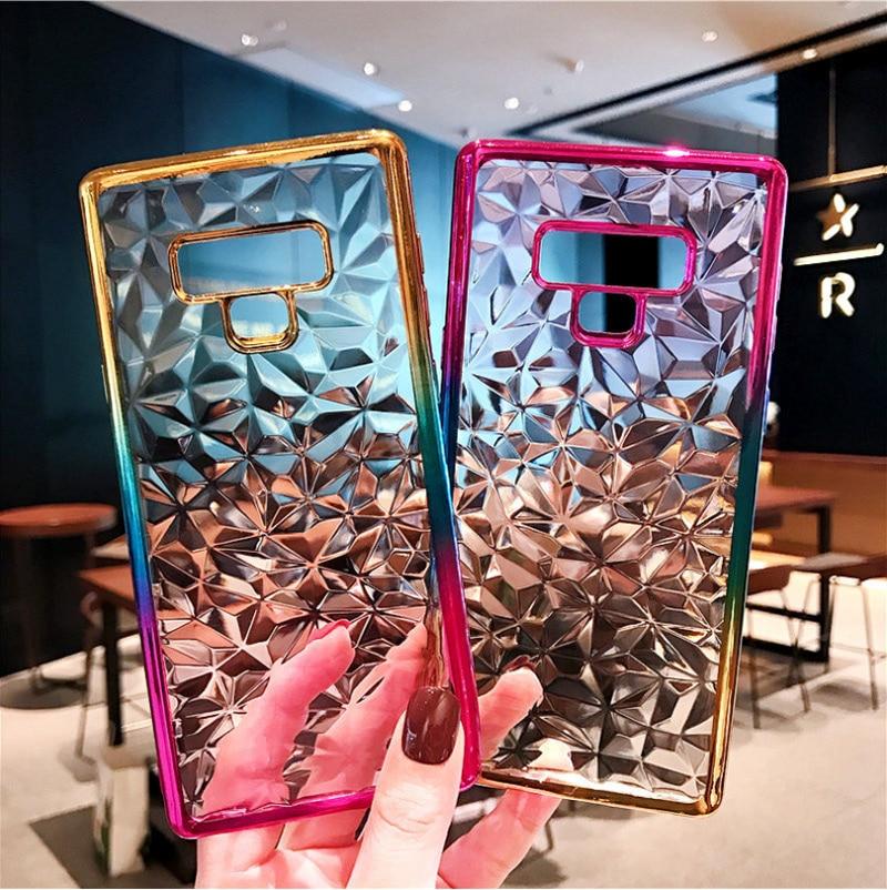 Gradient Diamond Plating Case For Samsung Galaxy S10 E S9 S8 Plus Note9 8 A750 J4 J6 Plus A8 A6 2018 J3 J5 J7 2017 Case Coque