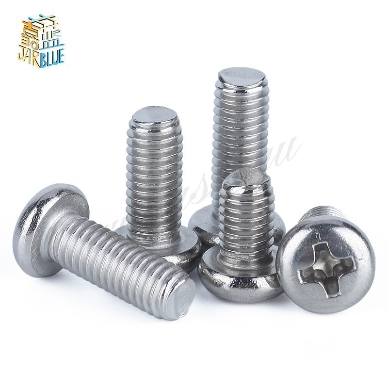 100pcs 50pcs M1 M1.2 M1.4 M1.6 M2 M2.5 M3 M4 Din7985 Gb818 304 Stainless Steel Cross Recessed Pan Head Screws Phillips Screws