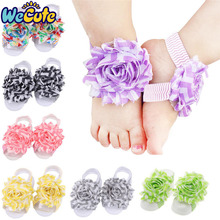 Wecute Baby Girls Barefoot Sandals Hair Foot Accessories Sun Flower band Elastic Fashion Decoration Kids Gifts