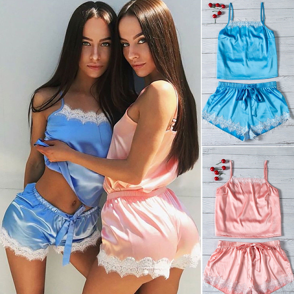 Style Women Sexy Smooth Satin Lace Sleepwear Babydoll Lingerie Nightdress Pajamas Set Sleeveless Soft 2Pcs Sleepwears
