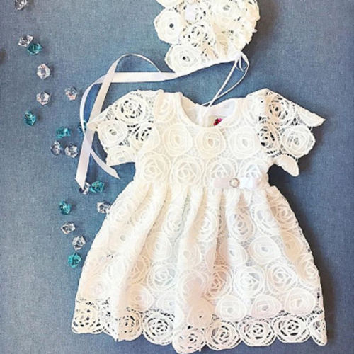 2019 New Arrival White Lace Dresses Kids Baby Girls Princess Floral Lace Dress Party Pageant Newborn Summer Tutu Dresses(China)