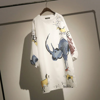 LANMREM 2019 Spring Lantern Sleeve Cartoon Print White Women Dress New Fashion Casual Loose Mid calf O neck Clothing N600