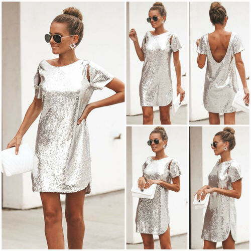 2019 Fashion Women Backless Sequin Glitter Twinkle Evening Party Club Wear Short Mini Dress CA