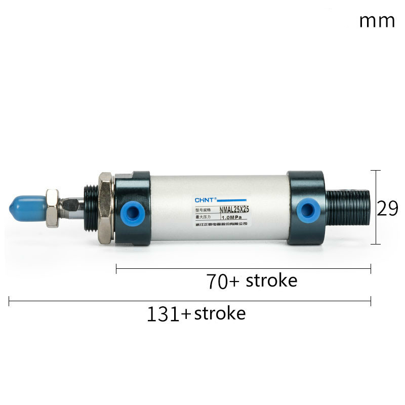 CHINT MAL Mini Pneumatic Cylinder Bore 25mm Stroke 50 75 100mm Aluminium Alloy Small Cylinders Double Action Cylinder Pneumatic in Pneumatic Parts from Home Improvement
