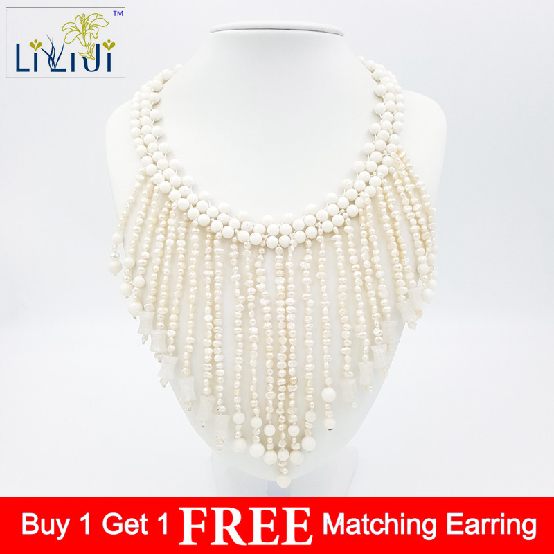 LiiJi Unique Natural stone White Coral,White Jades and Freshwater Pearl Beads with Jades Toggle Clasp Necklace 19inch/48cm цена