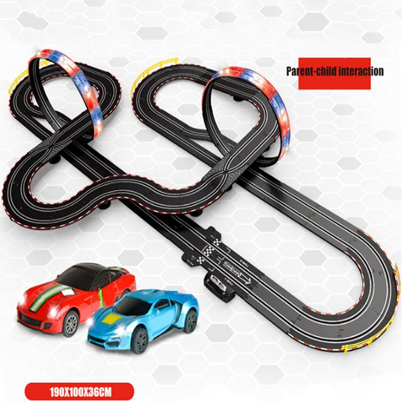 Large Remote Control Racing Track Toy Set Loops Electric Slot Cars Race Stunt Loop 2 Controllers Children Car In Rc From Toys