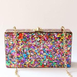 Image 3 - Цветная акриловая коробка, сумка через плечо с металлической застежкой, черная ткань, Женский брендовый пляжный летний акриловый кошелек
