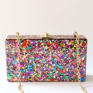 Image 3 - Colorful Acrylic Box Clutches Metal Clasp Black Fabric Shoulder Bags Women Lady Brand Beach Summer Acrylic Box Purse Wallet