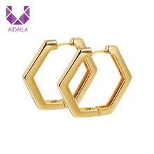 Hoop Earrings Geometric Hexagon Shape Brass Copper Metal 2019 New Brand Fashion Design Trendy Earrings Femme Brincos 2019