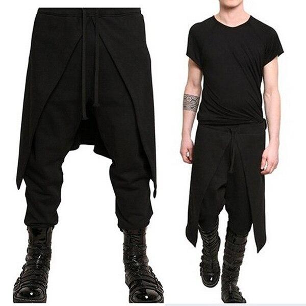 Punk Style Men Harem Pants Solid Hip-hop Patchwork Loose Drop Crotch Cross-pants Men Streetwear Joggers Fashion Trousers Hombre