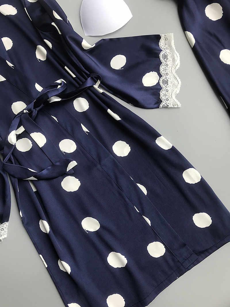 2019 Kadın Pijama 2 Parça Seksi Dantel Femme Robe ve Kıyafeti Setleri Uyku Salonu Bayan Kıyafeti Bornoz gece elbisesi Göğüs Pedleri
