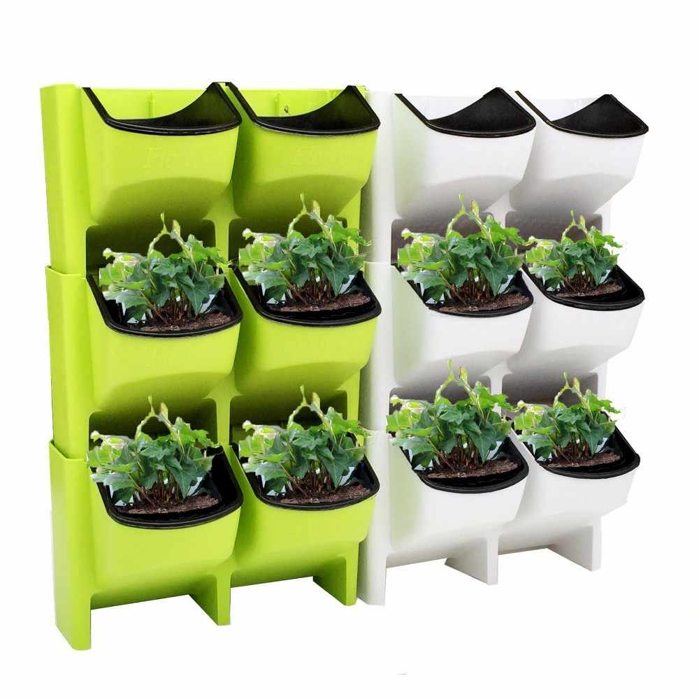 Stackable Wall Planter Bunga Pot Taman Tanaman Pot Wall Hanging Vertikal Succulents Bunga Pot Bonsai Dekorasi Rumah Dropshipping