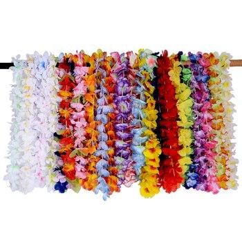 36 Uds flores artificiales Leis guirnalda Hawaii playa flores DIY fiesta decoración collar vestido de lujo