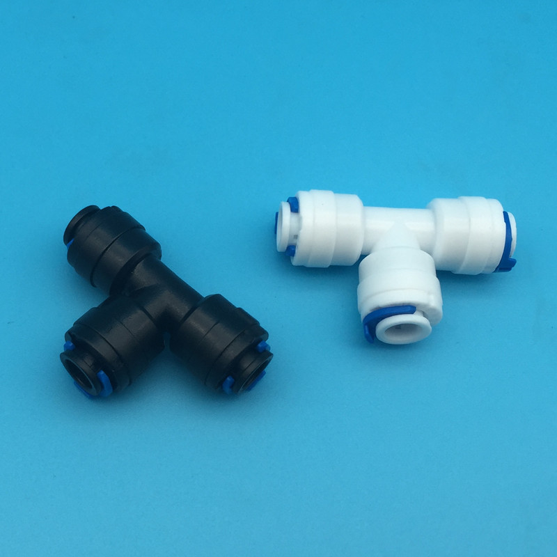 Adroit F300 Push To Quick Slip Lock T Three Way Plastic Connector For 6.35mm 1/4 Hose Fitting Black And White Color Easy Installation Attractive Appearance Watering & Irrigation