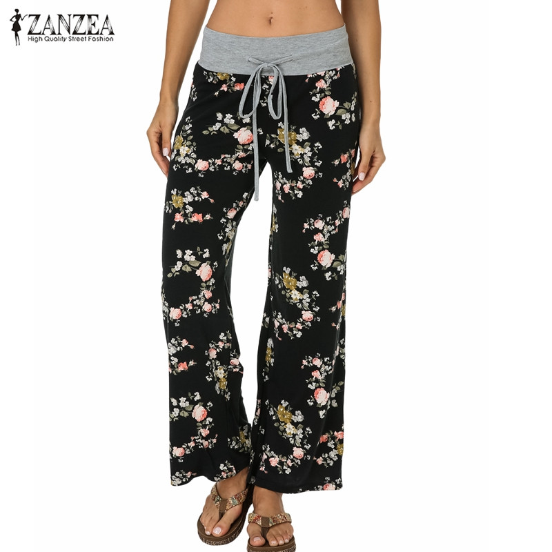 ZANZEA Women   Wide     Leg     Pants   2019 Summer Bohemian Floral Printed Casual Loose High Waist Patchwork Trousers Elegant Bottom   Pants