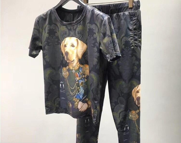 Nouveauté léopard chien Duke couronne Royal imprimé costume t-shirts Top t-shirts + pantalon ensemble pour hommes Designer marque vêtements survêtement