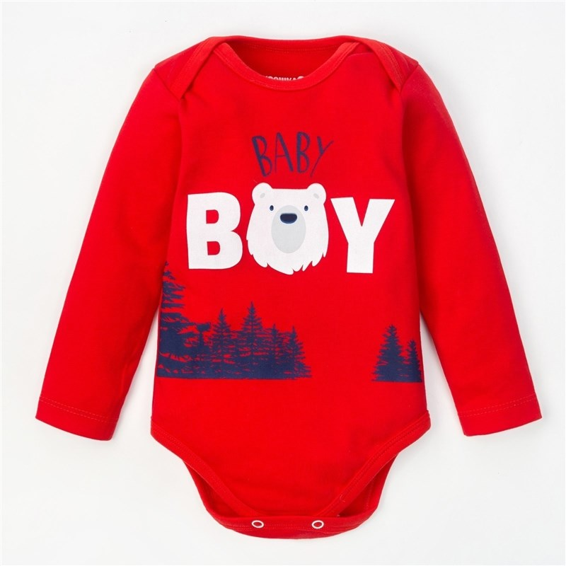 Bodysuit baby with lengths. Hand Little Bear red bodysuit baby