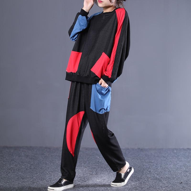 Rond ewq Blue Marée Manches Printemps Femmes black Nouveau Décontracté Ad328 Hit Fshion Elasticpants À 2019 Col Navy Style Longues Costume Couleurs Été x8R8Yrwvn