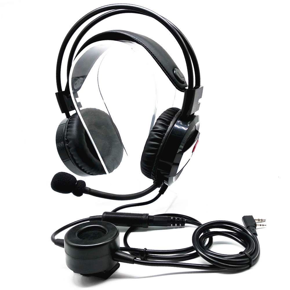 Walkie Talkie Earpiece Boom Mic Overhead Headphone with Big round PTT Compatible for Kenwood H 777
