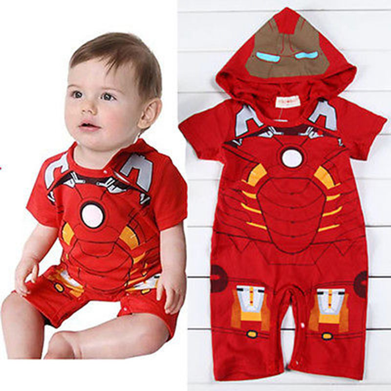 Baby Boys Girls Infant Red Cartoon Printed Hooded Short Sleeve Romper Playsuit Outfit One Piece Sunsuit Babygrows 0-18M