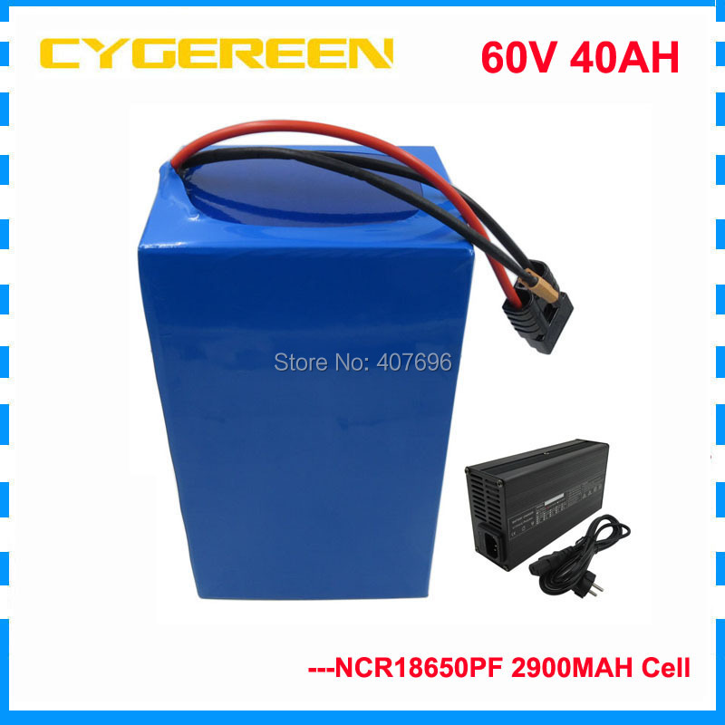 <font><b>3000W</b></font> lithium battery <font><b>scooter</b></font> 60v 40ah for Panasonic cell li-ion battery for solar system /e bike/E-bike,E-motorcycle 50A BMS image