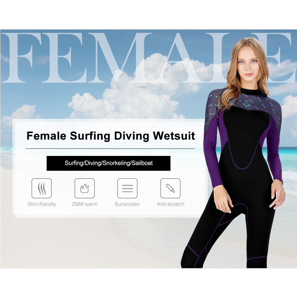 SLINX 2mm Multifunctional Scuba Diving Wetsuit Women Long Sleeves Anti-UV Warm Surfing Wetsuit Thickened Knee Pads Full BodysuitSLINX 2mm Multifunctional Scuba Diving Wetsuit Women Long Sleeves Anti-UV Warm Surfing Wetsuit Thickened Knee Pads Full Bodysuit